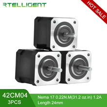 цена на Rtelligent Free Ship 3pcs 4Lead Nema17 Stepper Motor 42 Motor Nema 17 42CM04 (42BYGH) 1.2A Stepper Motor for 3D Printer CNC XYZ