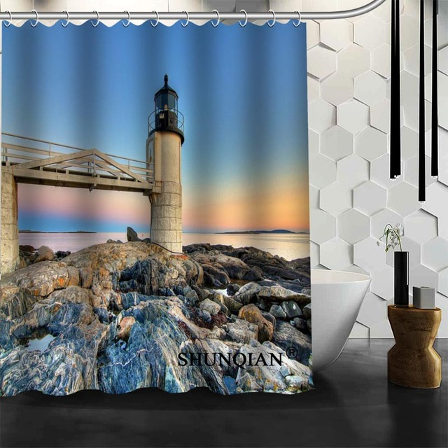 Waterproof Bathroom Curtains Modern Lighthouse Shower Curtain Polyester Bath Screens Customized