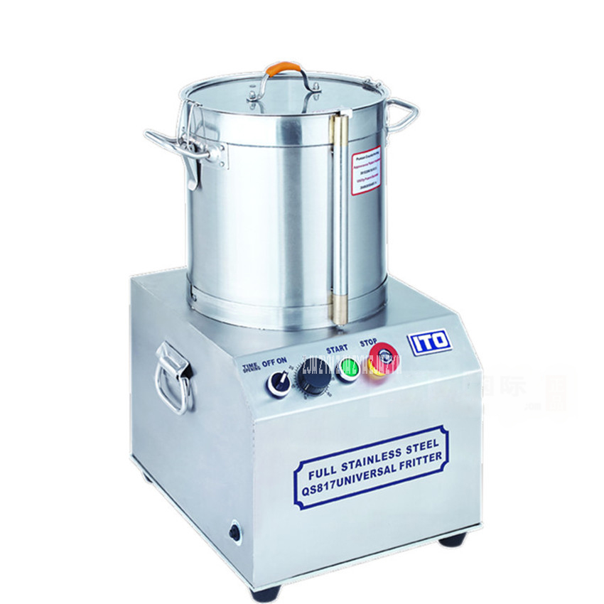 QS817 17L Commercial Food Processor; 110V/ 220V Stainless Steel Meat Vegetables Fritter Cutter Slicer Food Processors 750W fast food leisure fast food equipment stainless steel gas fryer 3l spanish churro maker machine