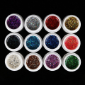 12 Colors Glitter Shinning powder Solid Acrylic UV Gel Nail Art gel Tips Extension Builder DIY Manicure tool
