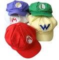 Preço de Venda inteiro de Super Mario Cap Chapéu de Algodão boné de Beisebol Cosplay Acessórios Do Traje Fivela Chapéus Chapéus Adultos Tampas Presente 5 Cores