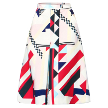 Newest Hot Selling Korean Style Printing Skirt All Match Spring Summer A Line Knee Length Striped Skirt XHSD-3062