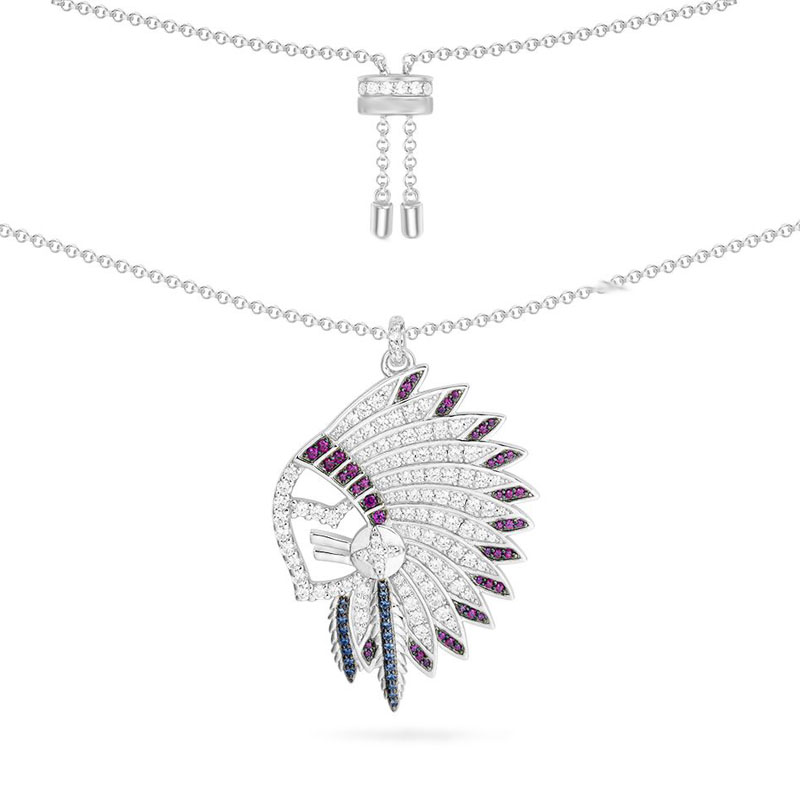 SLJELY Luxury 925 Sterling Silver Indian Chief Head Feather Necklace Cubic Zirconia Stones Women Monaco May