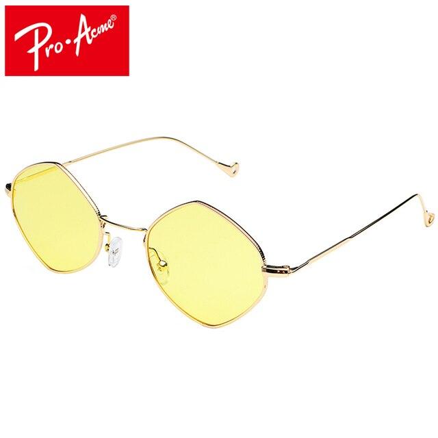 5e521a4fb6 Pro Acme Blue Yellow Green Ocean Lenses Sunglasses for Women Clear Lens  Square Polygon Sun Glasses Hexagon Metal Frame CC0986