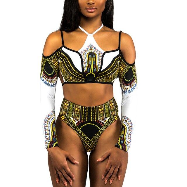 16b4e719b8 African Dashiki Print High Waist Bikini Swimsuit Long Sleeve Thong Swimwear  Women Bikini 2018 Plus Size Off Shoulder Swim Suits