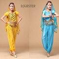 Trajes de Danza Bollywood Danza Del Vientre Trajes Top + falda + cintura cadena + velo + cadena de la mano 5 unids/set para Las Mujeres traje del bellydance