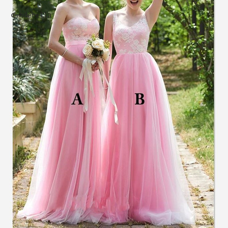 Cinderella Pink 2 Style Sleeveless Floor Length Lace Applique Bridesmaid Dresses Soft Tulle Bridesmaid Dresses With Zipper Back