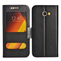 For Samsung A7 2017 Case Luxury View Window Genuine Leather Cover Stand Case For Samsung Galaxy