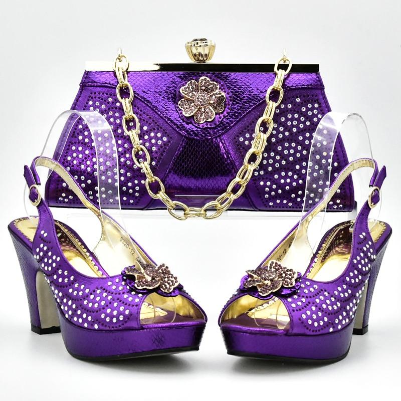 África La Zapatos Oro azul Color Juego Bolsas Púrpura Bolso Real Italiano De Bolsa Y Para púrpura A 2018 Conjunto Establece sliver fuchsia Boda OqwFqzx