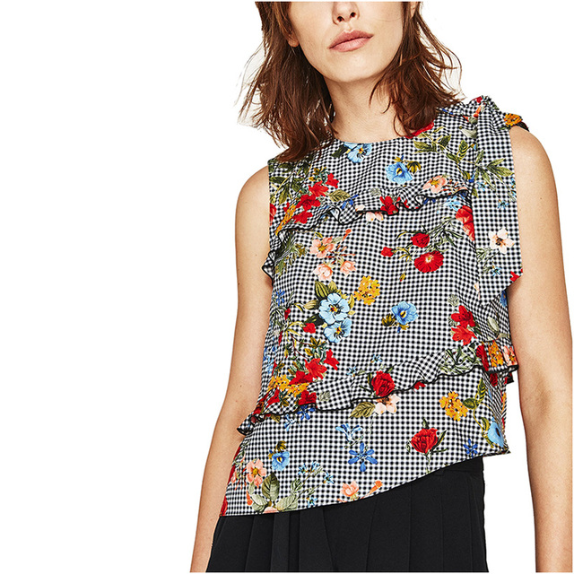 7572f337aa1ae NYMPH Summer Women Tank Tops O-Neck Sleeveless Flower Print Cascade Falbala Shoulder  Bow Design Casual Tank Tops Ladies Camis