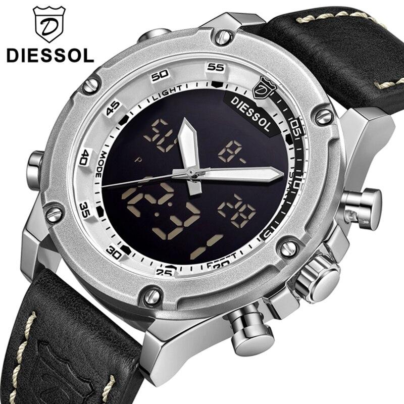 DIESSOL Top Brand Watch Men s Fashion Casual Quartz Sport Watch Men LED Digital Leather Waterproof