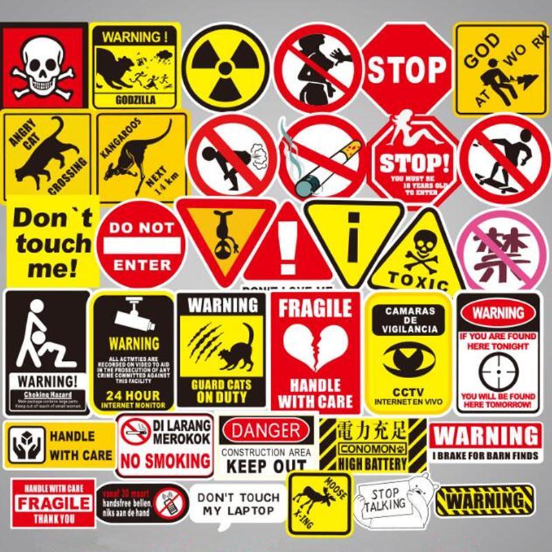 50pcs/Lot Warning Mark Funny Stickers Graffiti Brand Stickers Scrapbooking Skateboard Guitar Cool Waterproof Stickers Pegatinas50pcs/Lot Warning Mark Funny Stickers Graffiti Brand Stickers Scrapbooking Skateboard Guitar Cool Waterproof Stickers Pegatinas