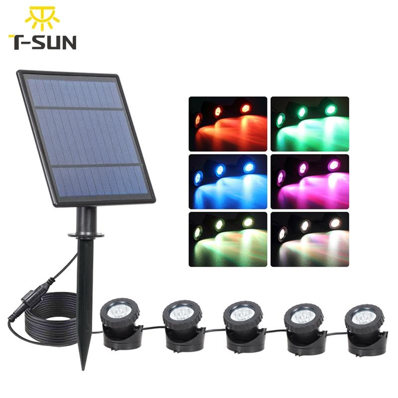 T-SUN 1 2 3 5 Light RGB Solar Lights Outdoors IP65 Waterproof Solar Lawn Light Solar Power Light For Garden Path Pool Decoration