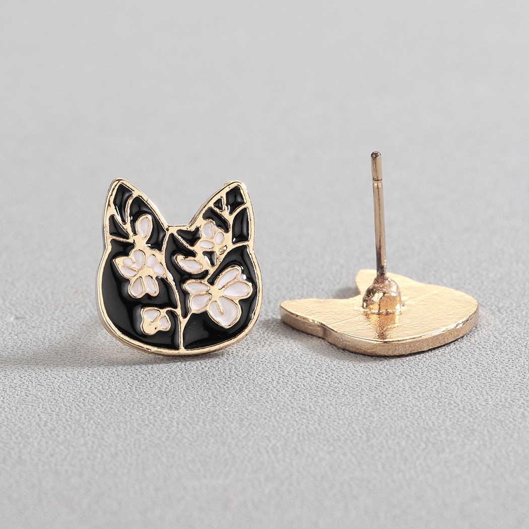 Cxwind 2019 милые серьги-гвоздики для котят модные золотые цвета из нержавеющей стали с черным котом женские серьги-гвоздики подарок для ювелирных изделий