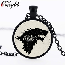 3 colors Movie Necklace Of Song Of Ice And Fire Game Of Thrones Stark glass wolf Pendant choker Necklace for men Jewelry CN1035