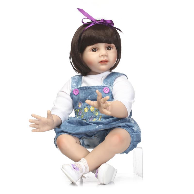 NPK 24 60cm reborn babies girl silicone dolls reborn lifelike bebe newborn princess dolls with fashion denim skirt frill trim blouse with denim skirt