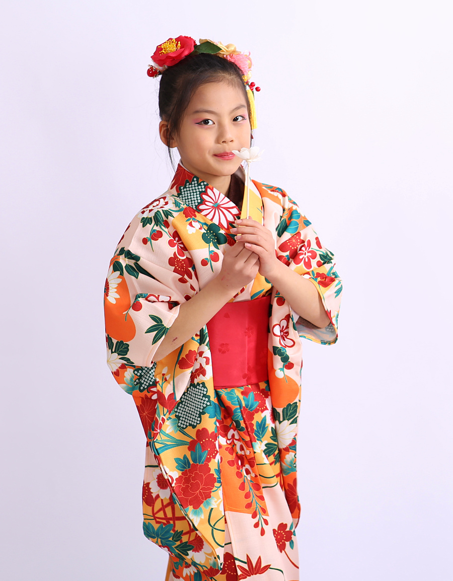 5-12 Years Old Girls Kimono Traditional Japanese Children Yukata Print Flower Long Robe Kids Girl Halloween Cosplay Clothes
