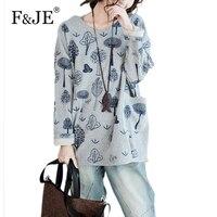 F & JE 2017 Herbst Neue Mode Frauen Lose Beiläufige Flügel-hülse T-shirt hohe Qualität Big Size Tops Terry Baumwolle Druck T-shirt 285