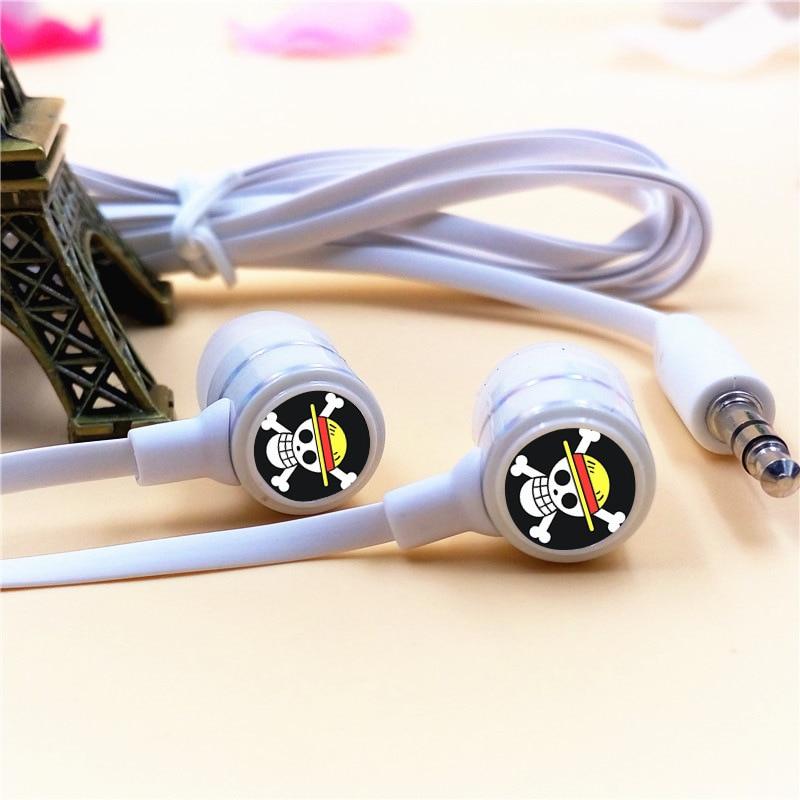 Anime One Piece Luffy Skull In-ear Earphone Stereo Headphone Earbuds Mic Headset