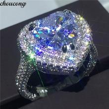 Choucong גדול לב צורת מבטיחים טבעת 925 סטרלינג כסף 6ct AAAAA cz אירוסין נישואים לנשים המפלגה תכשיטים