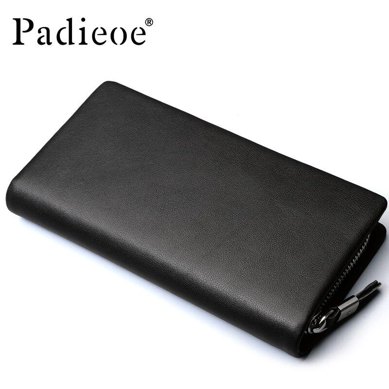 ФОТО 2017 Padieoe Men's Genuine Leahter Long Wallet Zipper Purse Stylish Fashion Designer Cell Phone Card Holder Male Cluch Bag