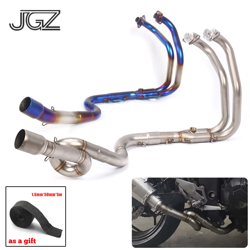 Motorcycle Stainless Steel Straight Exhaust Pipe Front Middle Curved Link Pipe For Kawasaki <font><b>Ninja</b></font> 250 <font><b>300</b></font> 2013 2014 <font><b>2015</b></font> 2016 image