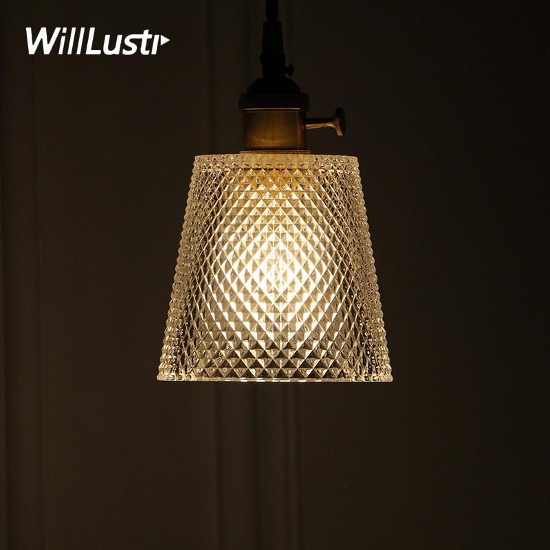 Nordic Vintage Taper Diamond Glass Pendant Light Copper Part Pendant Lamp Dinning Room Home Hotel Restaurant Loft Japan Lighting