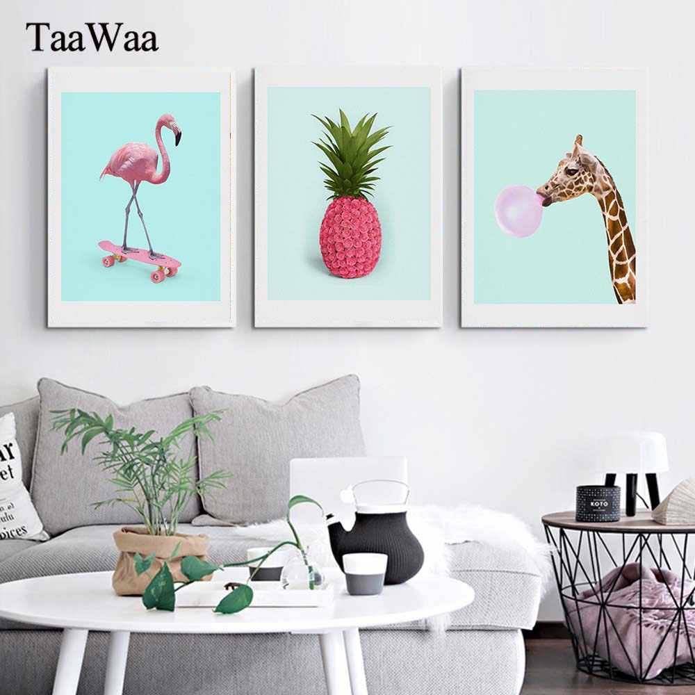 TaaWaa Flamingo Pineapple Giraffe Cartoon Poster Prints Cartoon Canvas Painting Blue Pink Wall Art Picture For Living Room Decor