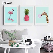 TaaWaa Flamingo Pineapple Giraffe Cartoon Poster Prints Canvas Painting Blue Pink Wall Art Picture For Living Room Decor