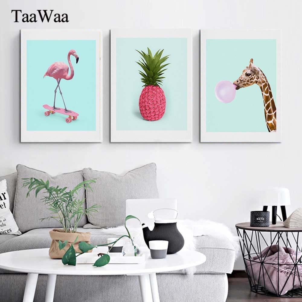 Chilean Flamingo Treble Canvas Print Large Picture Wall Print