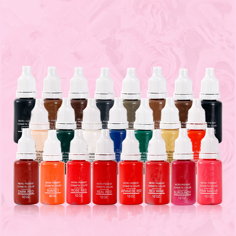 23 Bottles Of Tattoo Ink 1 2oz Pigment Permanent Makeup Easy To Wear Eyebrows Eyeliner Lip Art Paint Tattoo Beauty Tools Tattoo Inks Aliexpress