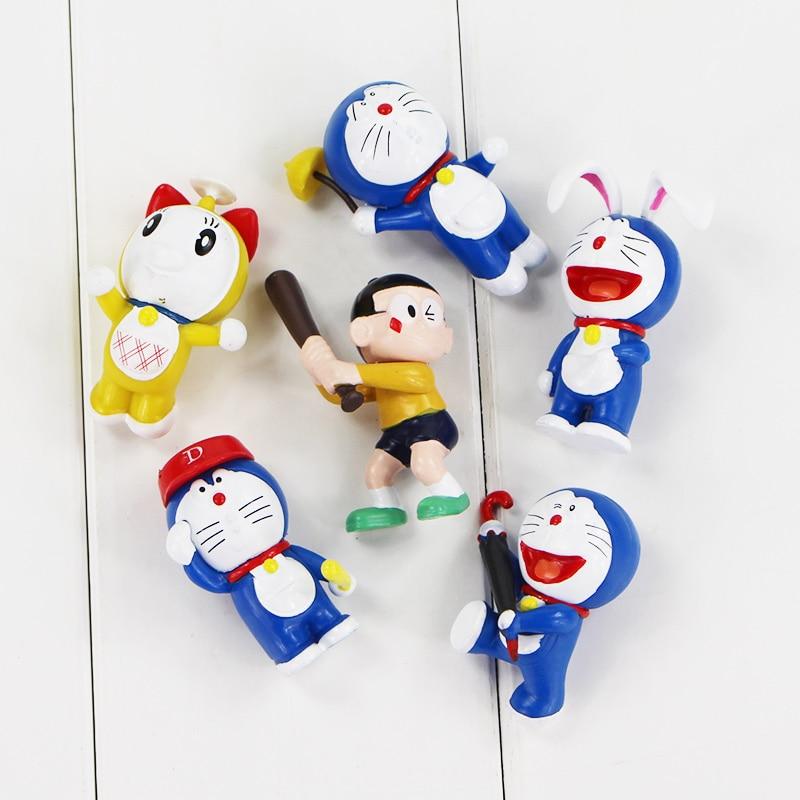 6pcs/lot 5-5.5cm Doraemon action figure toy cute Dorami Nobita PVC Figure Model Toys Hot cartoon kawaii toys shizuka for gifts