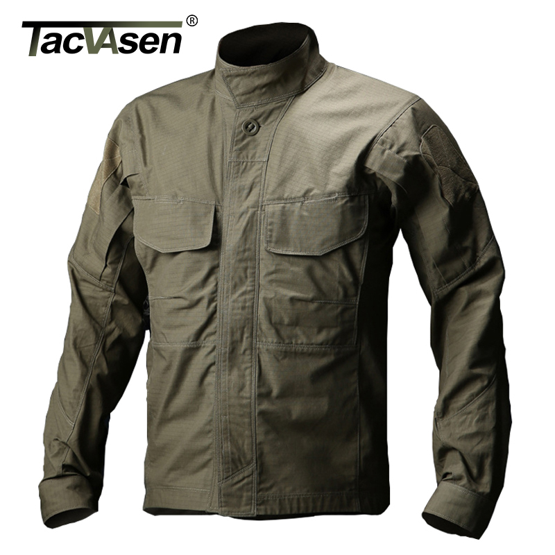 TACVASEN Men Army Military Shirt Waterproof Tactical Shirt Summer Autumn Long Sleeve Shirts Multi-pocket Clothes TD-QZJL-012 men military tactical outdoor shirts 100% cotton breathable long sleeve shirt army multi pockets swat shooting urban sports