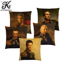 Hollywood Super Stars Cushion Cover Replaceface Prints Sofa Pillow Case Robert Downey Nicolas Cage Stallone