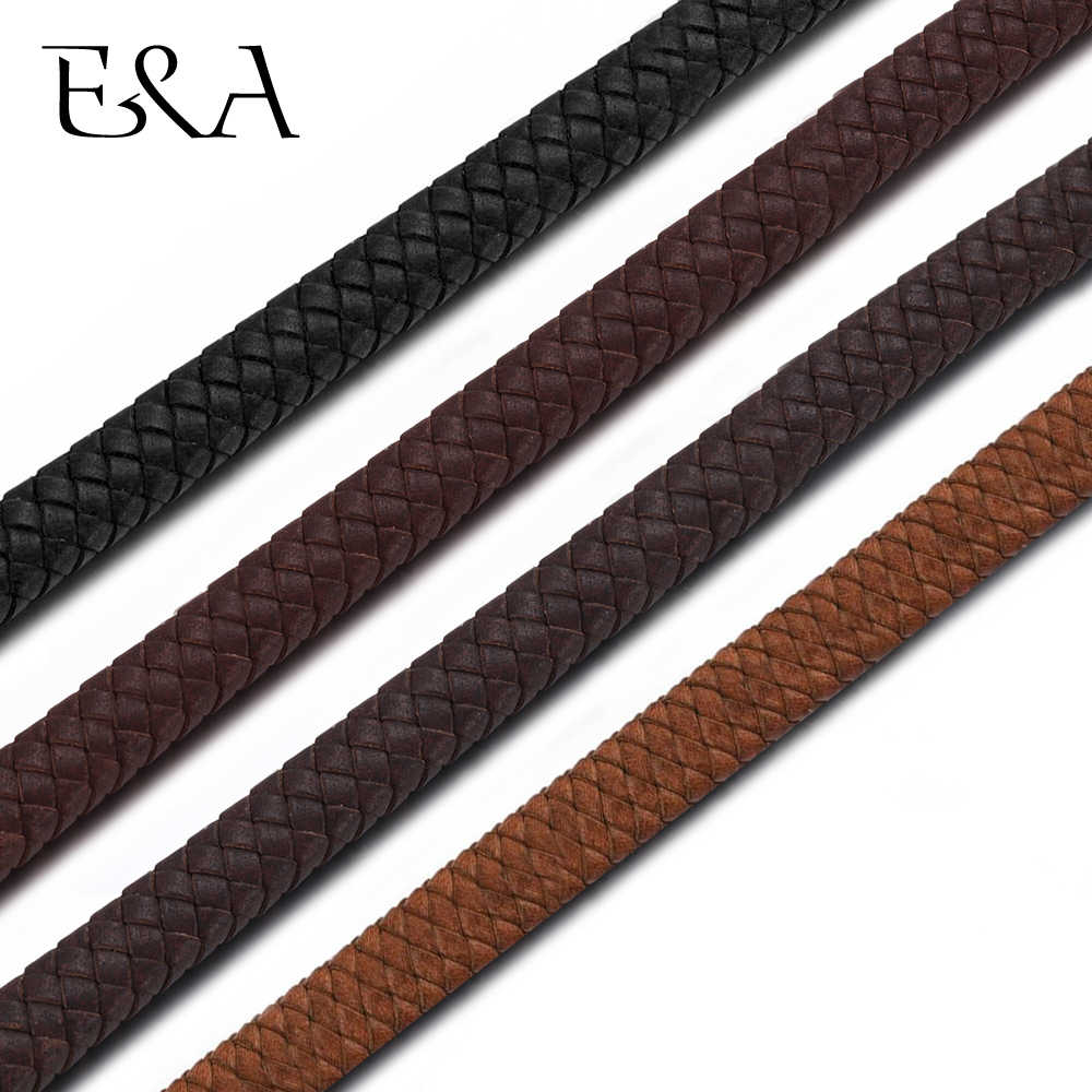 10*5mm Flat Genuine Braided Leather Rope String Uninterrupted Cord Men Bracelet Jewelry Craft Making DIY Findings Accessories