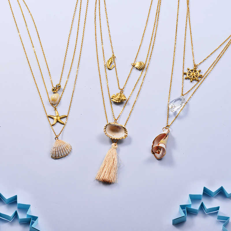 Baoyan Bohemian Seashell Necklaces Gold Plating Stainless Steel Chain Necklaces Multi Layered Starfish Shell Necklaces For Women