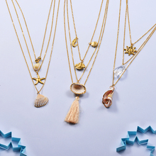 Baoyan Bohemian Seashell Necklaces Gold Plating Stainless Steel Chain Multi Layered Starfish Shell For Women