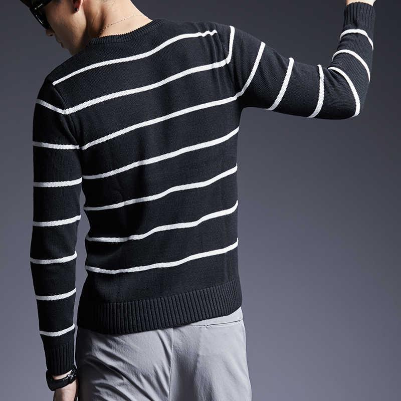 2019 neue Mode Marke Pullover Männer Pullover Warme Slim Fit Jumper Strickwaren Gestreiften Herbst Koreanische Stil Casual Kleidung Männlichen