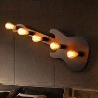 Loft Estilo Industrial Do Vintage Lâmpada de Parede de LED Arandelas de Parede Edison Ferro Guitarra Parede Luminárias Para Casa Decoração Iluminação Interior