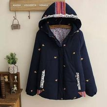 Embroidery Kitten Lace Patchwork Loose Hoodie Autumn Women Ethnic Longue Femme Cappotti Donna Casacos Chaqueta Mujer Coat Jacket