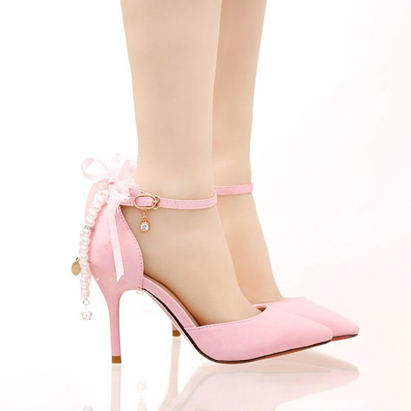 Cristal Pink Femmes Cm Boucle Cheville Sandales Talons Mariage Haute Heel Dames Perle Chaussures 9 Pompes 9cm Parti Stiletto Mariée Rose De Chaîne 7PpdHxwwq8