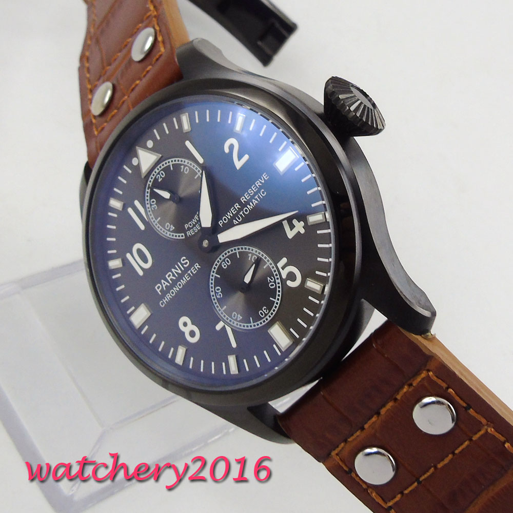 2017 New Hot Parnis 47mm black dial Chronograph Mens Rivets Automatic Watches Mechanical Watch Movement leather Strap movement2017 New Hot Parnis 47mm black dial Chronograph Mens Rivets Automatic Watches Mechanical Watch Movement leather Strap movement