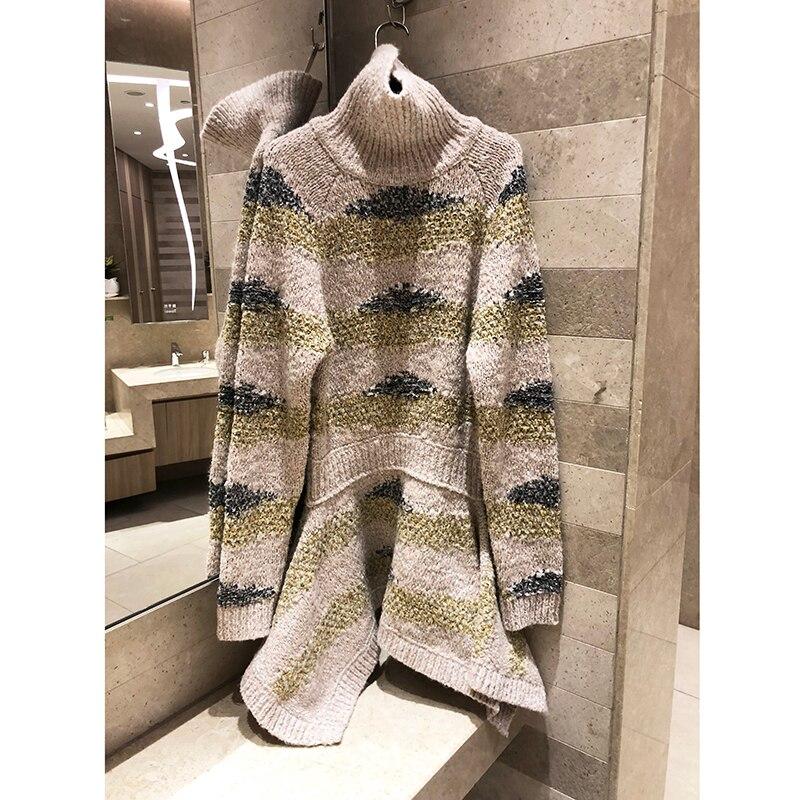 Donne di qualità high-end del mestiere di seta brillante knit pullover maglione dolcevita vestito Caldo manica lunga Irregolare con il vestito fishtail