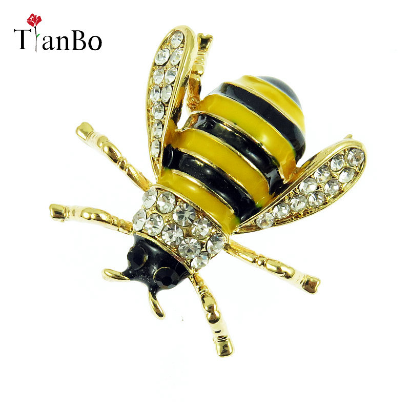 1b8a1343bfbdd WEIMANJINGDIAN Enamel And Crystal Bumblebee / Bee Insect Brooch Pins ...