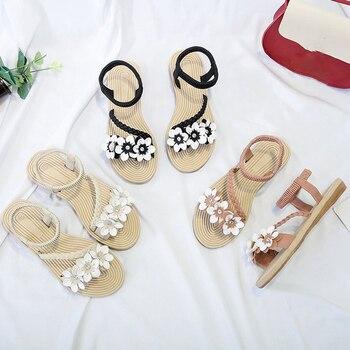 Summer Shoes Woman Sandals Elastic ankle strap Flat Sandalias Mujer 2019 Flowers Gladiator Beach Sandals Ladies Flip Flops 3