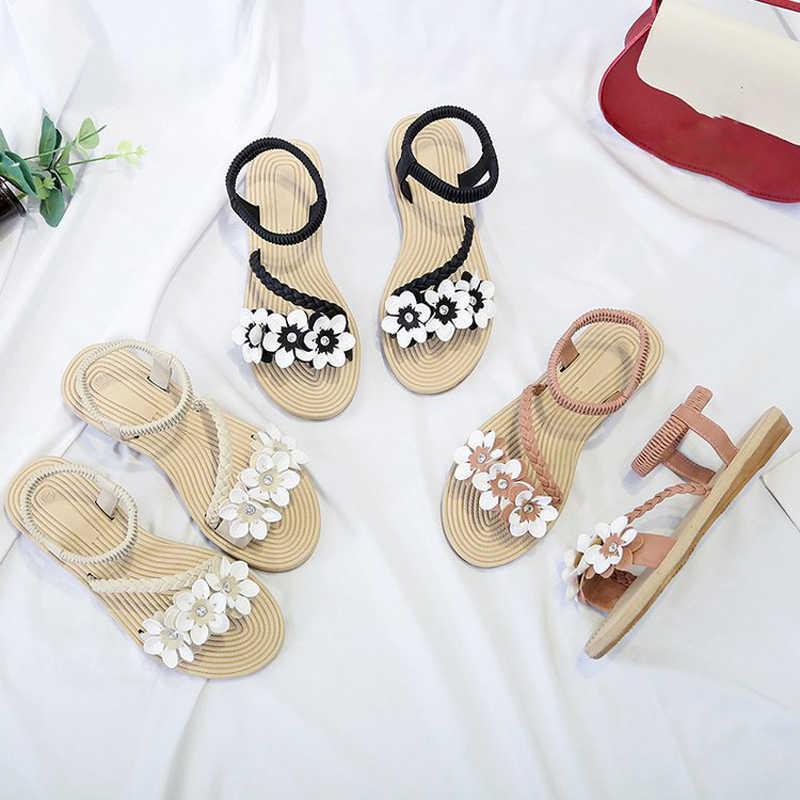Yaz Ayakkabı Kadın Sandalet Elastik ayak bileği kayışı Düz Sandalias Mujer 2019 Çiçekler Gladyatör plaj sandaletleri Bayanlar Flip Flop