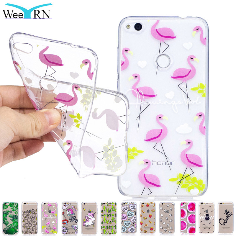Flamingo Phone Case for huawei P8 Lite 2017 Case Huawei Honor 8 Lite Transparent Cute Silicon Soft TPU Cover huawei P8 Lite 2017