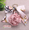 Camellia Rose Keychain Women Romantic Bag Pendant Charm Silk Scarves Creative Gifts Flowers Key Chain Buckle Key Ring Holder F65