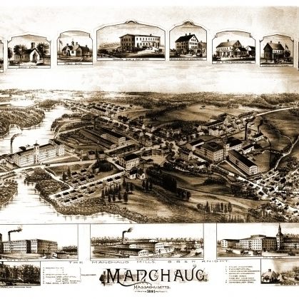 Antique Map of Manchaug Massachusetts 1891 Worcester County Poster Print (36 x 54)