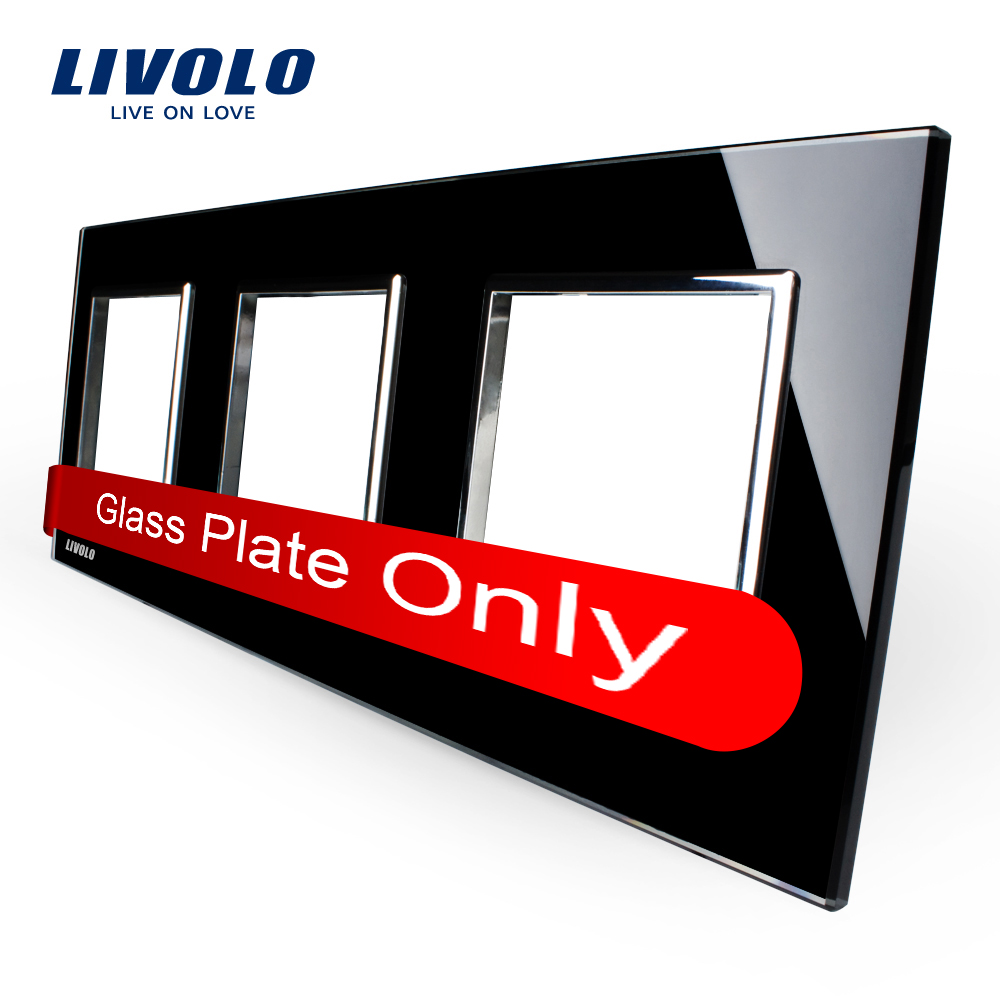 Free Shipping Livolo Luxury Black Pearl Crystal Glass EU standard Triple Glass Panel For Wall Touch